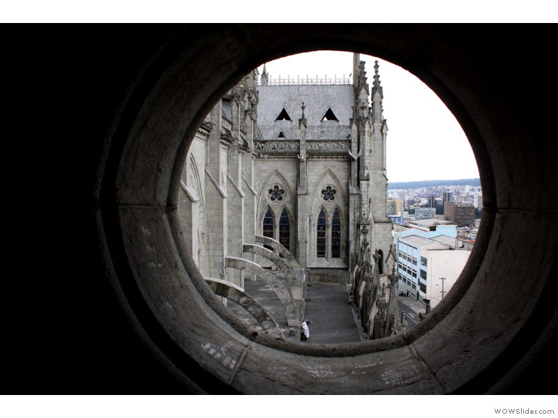 Quito view from inside the tower
